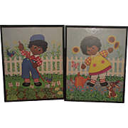 Beautiful Vintage Raggedy Ann & Andy Cocoa Complexion Print On A Wood Board Circa 1960's