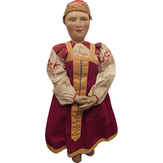 """Early Wonderful Stockinette Cloth Doll With Painted Facial Features 15"""""""