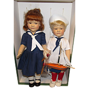 R. John Wright American felt character dolls, Arthur and Lillian, In original box, Exclusive Edition