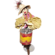 "Vintage Klumpe And Roldan Molded Felt & Cloth Doll 11"" CIRCA 1950's"