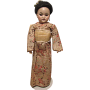 Gorgeous Antique Simon & Halbig 1199 Oriental Bisque Head Doll With Original Mohair Wig