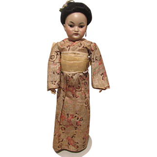 Gorgeous Antique Simon & Halbig 1199 Oriental Bisque Head Doll With Original Mohair Wig