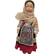 Early Italian Cloth Silk Mask Face Doll In Original Outfit Circa 1930's