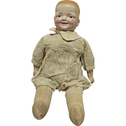 Old Composition Two Face Baby Doll With A Cloth Stuffed Body 16""