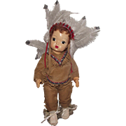 "Vintage Jerri Lee Doll Terri Lee Family In Indian Ensemble 16"" Circa 1947"