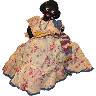 "Wonderful Beautiful Vintage Black Topsy-Turvy Cloth Folk Art Doll With Wonderful Detailed Clothing 14"""
