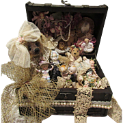 "An Extraordinary One of a kind Vintage Doll Box filled with Bisque Kewpies And Miniatures ""The Vintage Treasure World Box"""
