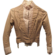Stunning Victorian Tan Pleated Long Sleeve Blouse Circa 1890's