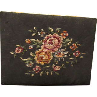 Vintage Petit Point Needlepoint Lady's Business Card Holder Circa 1950's