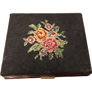 Vintage Petit Point Needlepoint Lady's Compact
