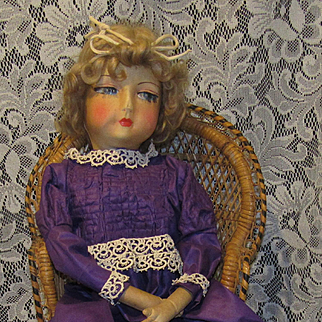 "Elegant Early 28"" Boudoir Cloth Bed Doll"