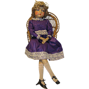 """Elegant Early 28"""" Boudoir Cloth Bed Doll - Red Tag Sale Item"""