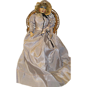 "Beautiful Early 26"" Boudoir Cloth Bed Doll"