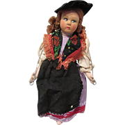 """Vintage Cloth Side Glancing Chubby Cheeks Cloth Doll Made In Italy 10"""" Tall CIRCA 1930'S"""