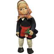 "Vintage Italian Felt Cloth Character Doll 11"""
