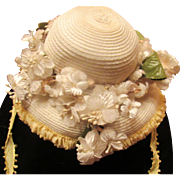 Beautiful Vintage Doll Straw hat with flowers