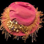 Stunning Old Doll Velvet Hat