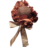 Beautiful Old Doll Straw hat with flowers
