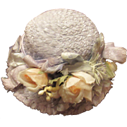 Lovely Vintage Doll Straw hat with flowers