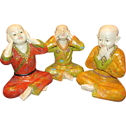 Vintage Chinese See, Speak or Hear No Evil Buddha's