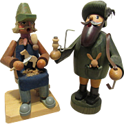 Two Vintage German Smoker Seiffen Erzgebirge Smoker Rustic Wood Figures Primitive