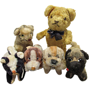 Six Wonderful Antique Mohair Excelsior Stuffed Animals