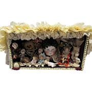 Diorama One of A Kind Vintage Room Box Miniature Bisque Dolls, Vintage China Head ~ Artist Signed