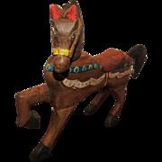 Wonderful Vintage All Carved Wood Horse Circa 1930's