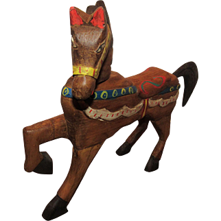 Wonderful Vintage All Carved Wood Horse Circa 1930's