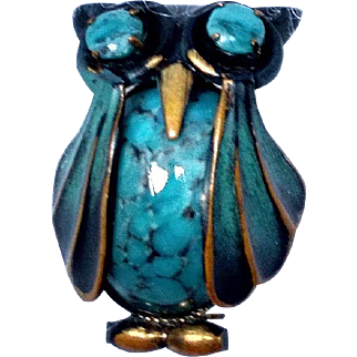 Vintage Turquoise and Enamel Owl Brooch