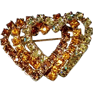 Vintage Triple Hearts Entwined Amber, Citrine, and Jonquil (pale yellow-green) Rhinestone Brooch