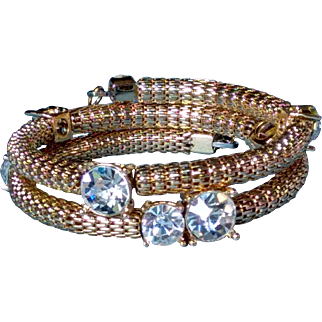 Vintage Chunky, Round Gold Tone Mesh and Rhinestone Coil Wrap Bracelet