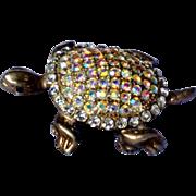 Sparkling Aurora Borealis Rhinestone Tortoise Brooch