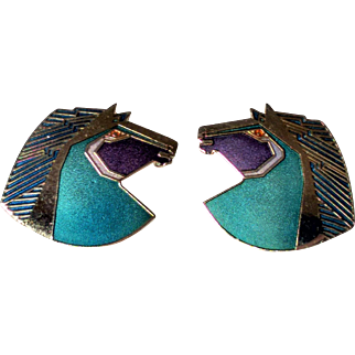 Large Colorful Wild Stallion Pierced Earrings - Signed Laurel Burch