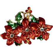 Vintage Red Poinsettias and Rhinestones Holiday Brooch