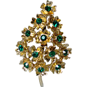 Vintage Sparkling Green Stone Blooming Christmas Tree Brooch