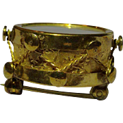 March to the Beat of Your Own Drum! Vintage Gilt and Mother of Pearl Drum Pin