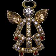 Gold Toned and Rhinestone Angel Pin