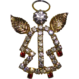 Gold Toned and Rhinestone Angel Pin