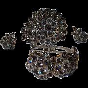 Vintage Rhodium Plated Black / Grey Diamond Juliana (D & E) Parure  Clamper Bracelet, Earrings and Huge Brooch Set
