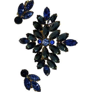 Vintage Blue Navette Rhinestone Cross Brooch and Earrings Set