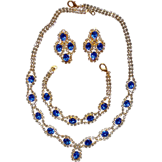 Vintage Parure White (clear) and Sapphire Blue Rhinestone Necklace, Bracelet, Earrings Set