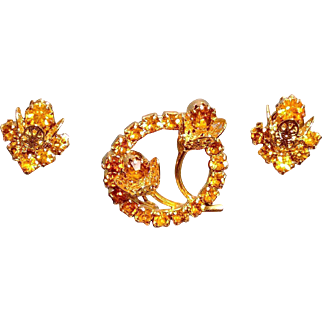 Vintage Warm Topaz Colored Rhinestone Floral Pin and Earrings Set