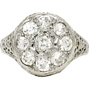 Antique European Diamond Cluster Ring in 18kt White Gold .70ctw Art Nouveau