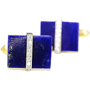 Vintage Men's Cuff Links with Lapis Lazuli & Diamonds 14K Two Tone Gold .20ctw
