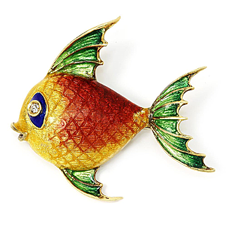 Vintage Fish Brooch Pin with Diamond in 18kt Yellow Gold & Enamel