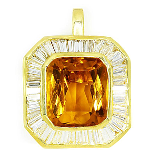 ON SALE Vintage Citrine Pendant with Diamonds in 18kt Yellow Gold 22.00ctw November Birthstone