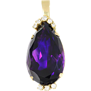 Large Pear Amethyst Pendant with Diamonds in 14kt Yellow Gold 39.50ctw