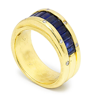 Vintage Baguette Sapphire Band with Diamonds 18K Yellow Gold 1.25ctw