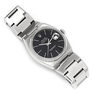 Men's Rolex Oysterquartz Black Dial Stainless 17000 1978 36mm
